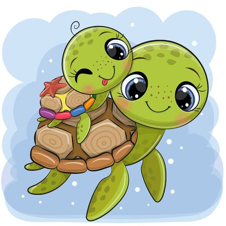 Cute Cartoon water turtles father and son on a blue background