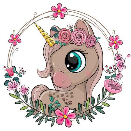 Cute Cartoon Unicorn with flowers on a blue background
