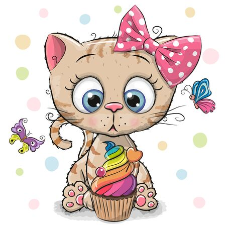 Cute Cartoon Kitten with cake and butterflies on a white background