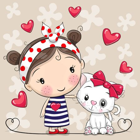 Cute Cartoon white kitten and a Girl in a striped dress Illustration