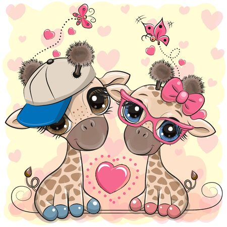 Two Cute Cartoon Giraffes in a cap and glasses on a hearts background