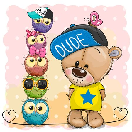 Cute Cartoon Teddy Bear and owls on a pink background 向量圖像