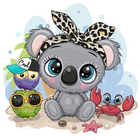Cute Cartoon Koala, owls and crab on the beach