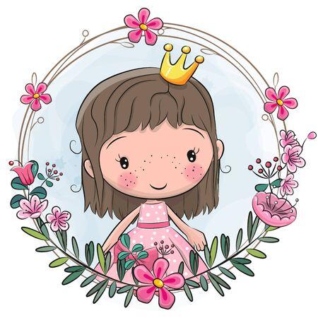 Cute Cartoon Princess in a flowers frame