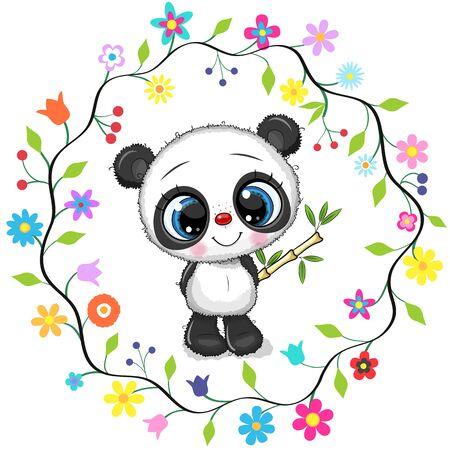 Cute Cartoon Panda in a flowers frame