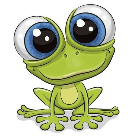 Cute Cartoon Frog isolated on a white background