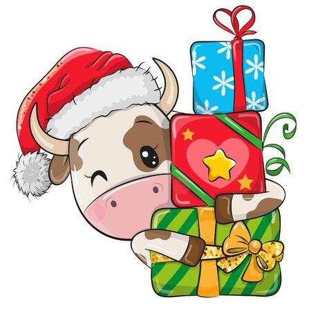 Cute Cartoon Bull with gifts in a Santa hat 向量圖像