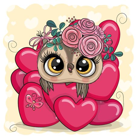 Valentine card with Cute Cartoon Owl in hearts Illustration