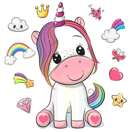 Cute Cartoon Unicorn and set of cute design elements