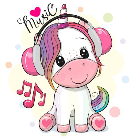 Cute Cartoon Unicorn with headphones on a white background