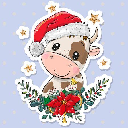 Cute Cartoon Bull in Santa hat with christmas wreath 向量圖像