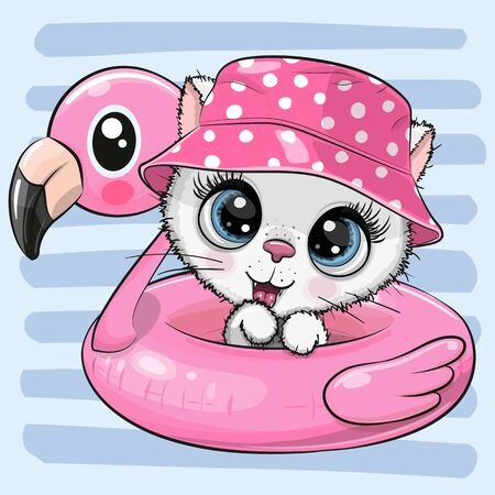 Cute cartoon Kitty in panama hat swimming on pool ring inflatable flamingo