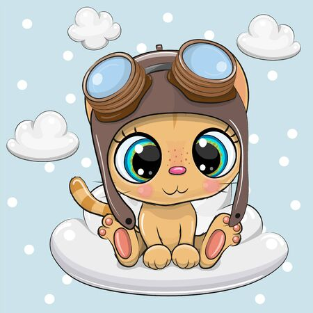 Greeting card Cute Cartoon Kitten in a pilot hat  on a cloud