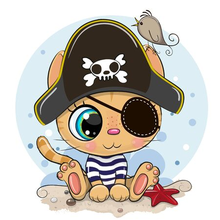 Cute cartoon Orange Kitten in a pirate hat