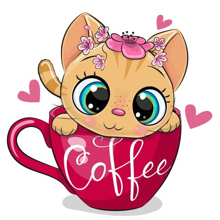 Cute Cartoon kitten with a flowers is sitting in a Cup of coffee Illusztráció