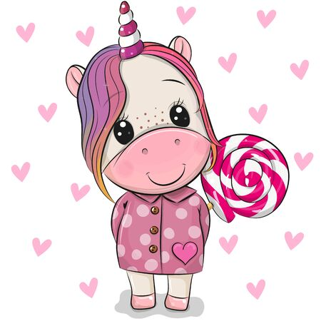Cute Cartoon Unicorn in coat and with Lollipop