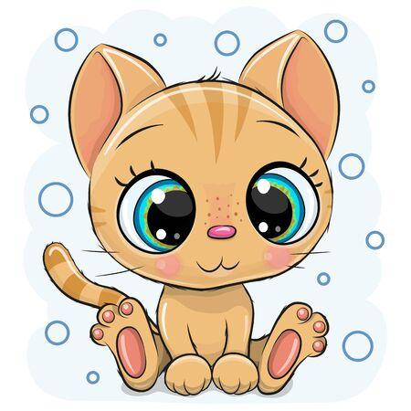 Drawing Cute Cartoon Kitten on a blue background