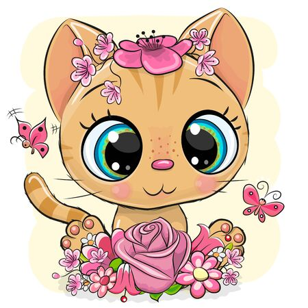 Cute Cartoon Orange Kitten with flowers on a yellow background 向量圖像