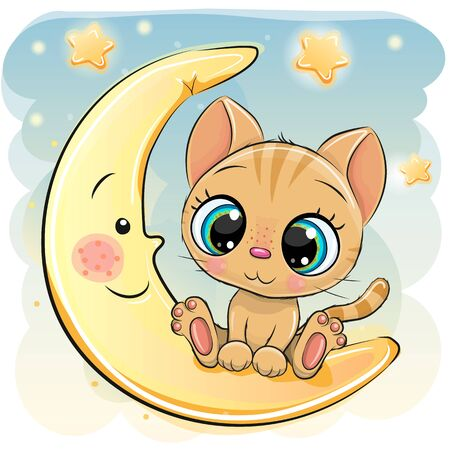 Cute Cartoon Kitten is sitting on the moon 向量圖像