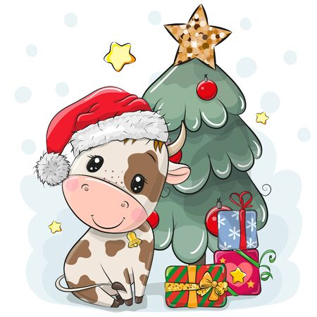 Cute Cartoon Bull is near the Christmas tree
