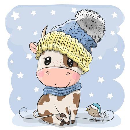 Cute Cartoon Bull in a knit cap and a bird