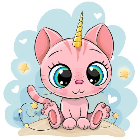Cute Cartoon pink Kitten with the horn of a unicorn