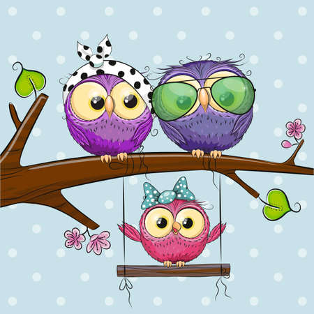 Two cute Owls on a branch and a chick on the swings