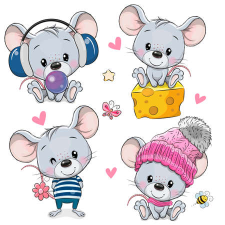 Set of Cute Cartoon Mouses isolated on a white background