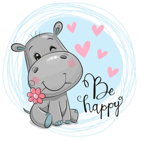Greeting card Cute Cartoon Hippo with flower on a blue background Ilustracje wektorowe