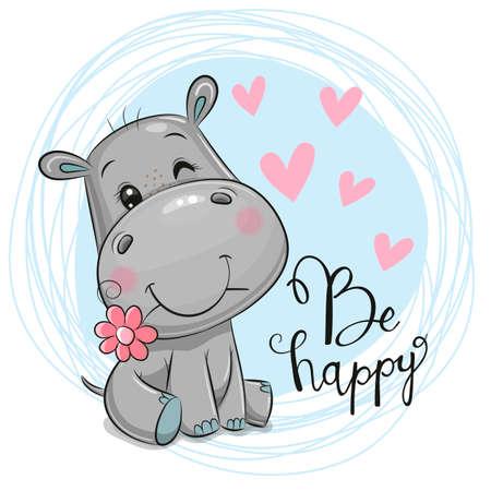 Greeting card Cute Cartoon Hippo with flower on a blue background Vektorové ilustrace