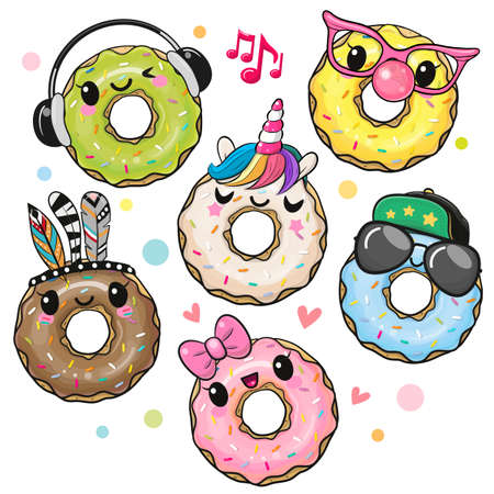 Set of Cute Cartoon Donuts isolated on a white background