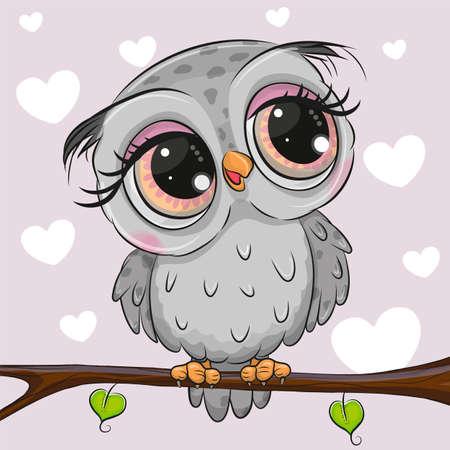 Cute cartoon Gray owl is sitting on a branch Vector Illustratie