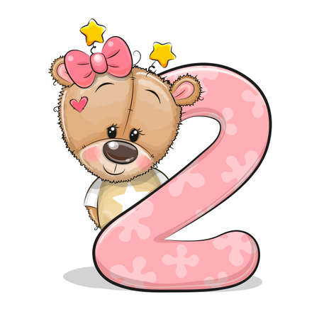 Cute Cartoon Teddy Bear Girl and number two isolated on a white background