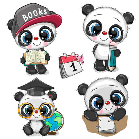 Set of Cute Cartoon Pandas isolated on a white background Stock Illustratie