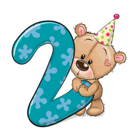 Cute Cartoon Teddy Bear and number two isolated on a white background