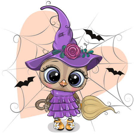 Cute cartoon witch Owl in purple dress and hat