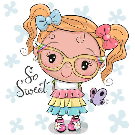 Cute Cartoon Girl in a dress with bows