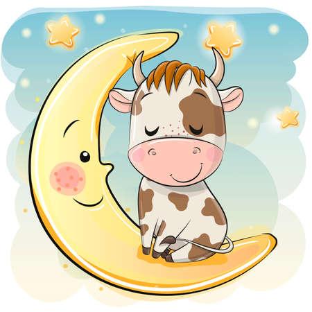 Cute Cartoon Bull is sleeping on the moon