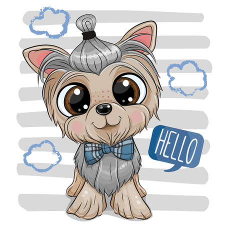 Cute cartoon Dog Yorkshire Terrier with a bowtie