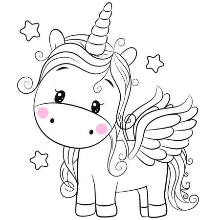 Cute Cartoon unicorn with stars outlined for coloring book isolated on a white background 矢量图像
