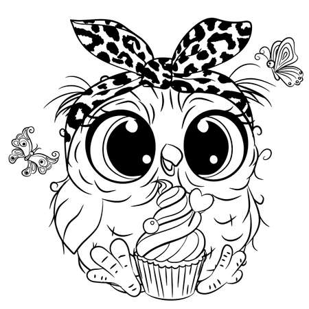 Cute Cartoon Owl with butterlies outlined for coloring book isolated on a white background 向量圖像