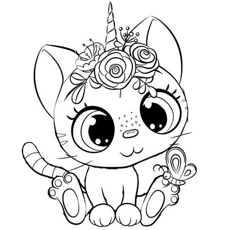 Cute Cartoon Kitty unicorn outlined for coloring book isolated on a white background 向量圖像