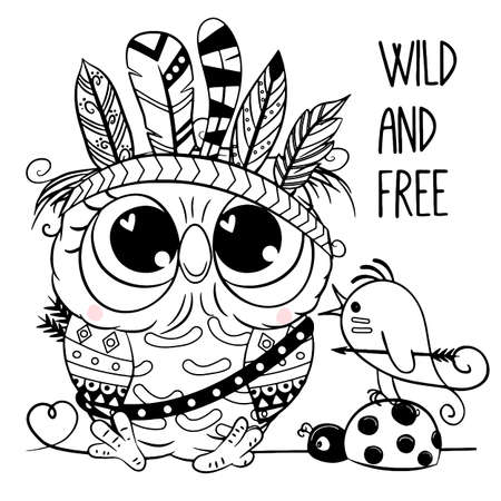 Cute Cartoon Owl with feathers outlined for coloring book isolated on a white background 向量圖像