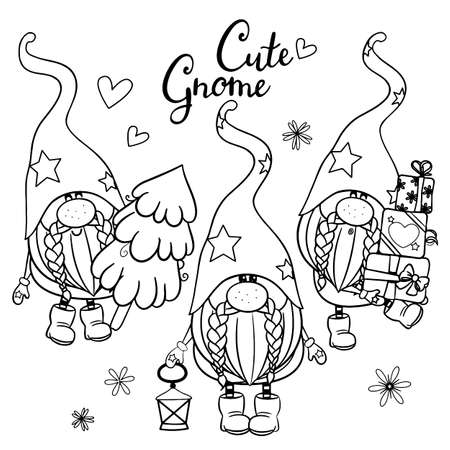 Cute Cartoon Gnomes outlined for coloring book isolated on a white background