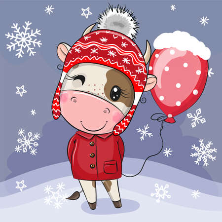 Cute Cartoon Bull in a red hat with balloon Illusztráció