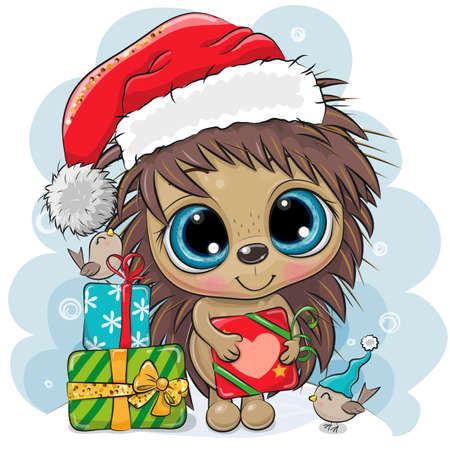 Cute Cartoon Hedgehog in Santa hat with gifts and birds Illusztráció