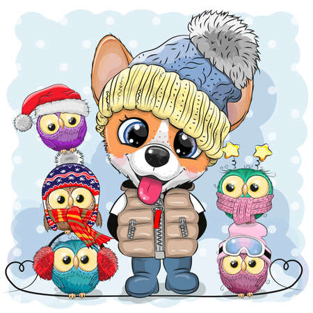 Cute Cartoon Puppy in a knitted cap and owls Illusztráció