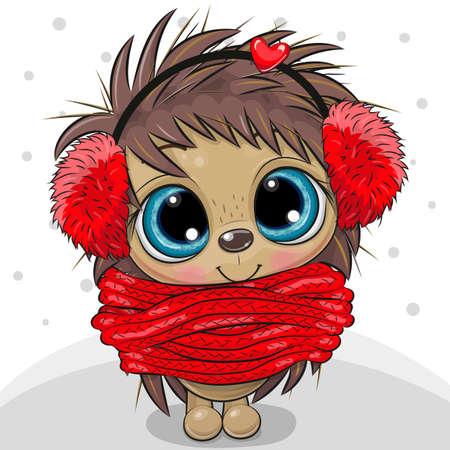 Cute Cartoon Hedgehog in fur headphones and scarf