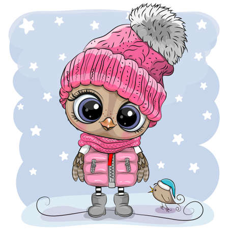 Cute Cartoon Owl in a pink hat and scarf