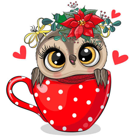 Christmas illustration Cute Cartoon owl is sitting in a red Cup